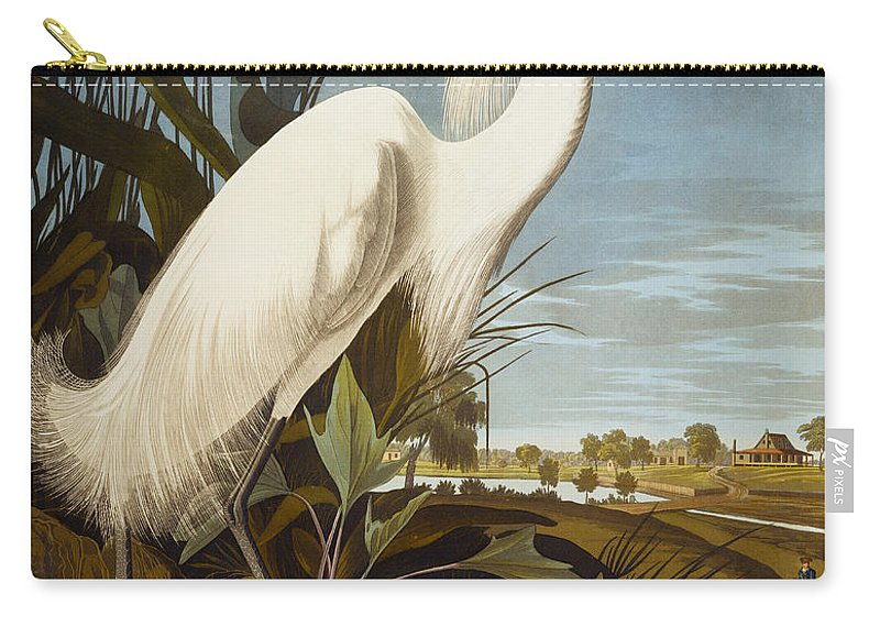 Bird Carry-all Pouch featuring the painting Snowy Heron Or White Egret by John James Audubon