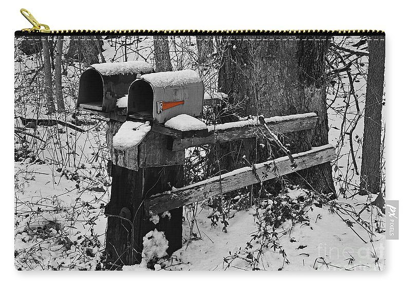 Rural Carry-all Pouch featuring the photograph Snowy Mailbox Sc by Mary Carol Story