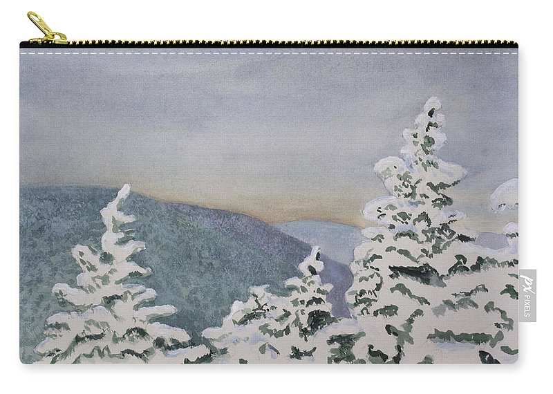 Snowy Carry-all Pouch featuring the painting Snowy Mountains Of Nek by Donna Walsh