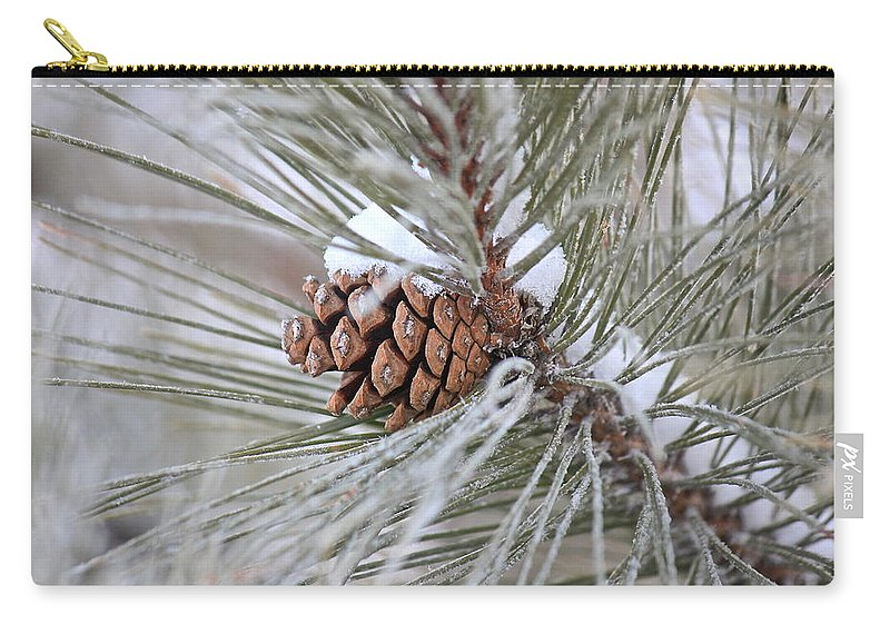 Norway Pine Tree Carry-all Pouch featuring the photograph Snowy Pine by Penny Meyers