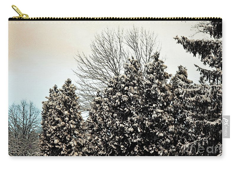 Winter Carry-all Pouch featuring the photograph Snowy Pines by Judy Wolinsky