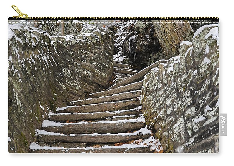 Snowy Carry-all Pouch featuring the photograph Snowy Steps by Bill Cannon