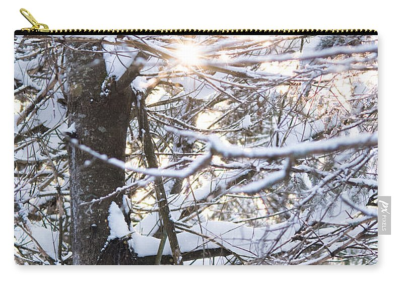 Carry-all Pouch featuring the photograph Snowy Sunbursts by Cheryl Baxter