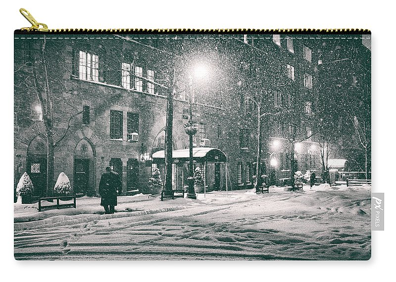 New York Carry-all Pouch featuring the photograph Snowy Winter Night - Sutton Place - New York City by Vivienne Gucwa