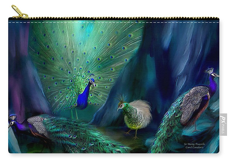 Peacock Carry-all Pouch featuring the mixed media So Many Peacocks by Carol Cavalaris