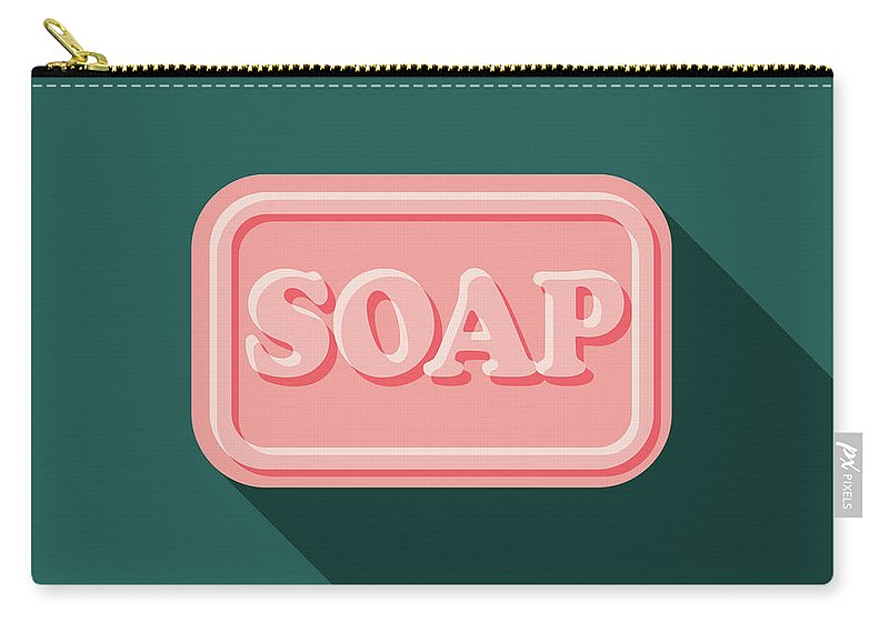 Art Carry-all Pouch featuring the digital art Soap Flat Design Cleaning Icon With by Bortonia