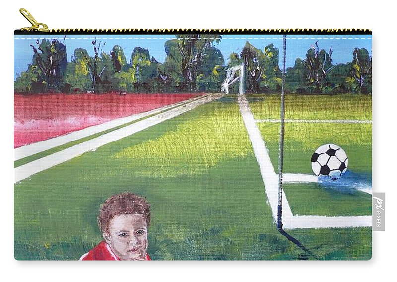 Soccer Carry-all Pouch featuring the painting Soccer Field by Anna Ruzsan