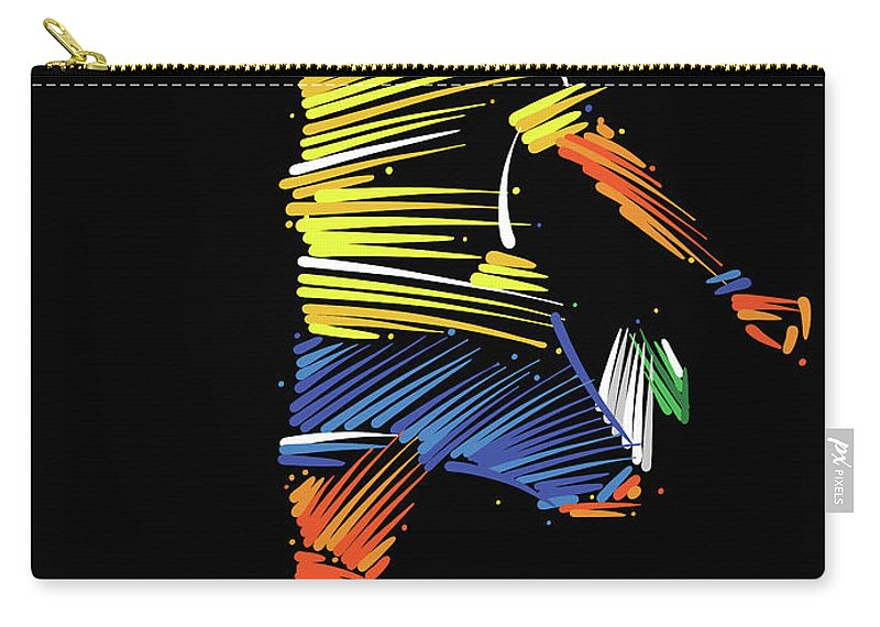 Goal Carry-all Pouch featuring the digital art Soccer Player Running To Kick The Ball by Dimitrius Ramos