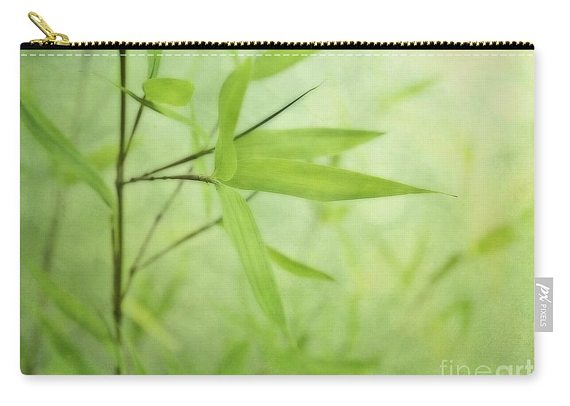 Green Carry-all Pouch featuring the photograph Soft Bamboo by Priska Wettstein