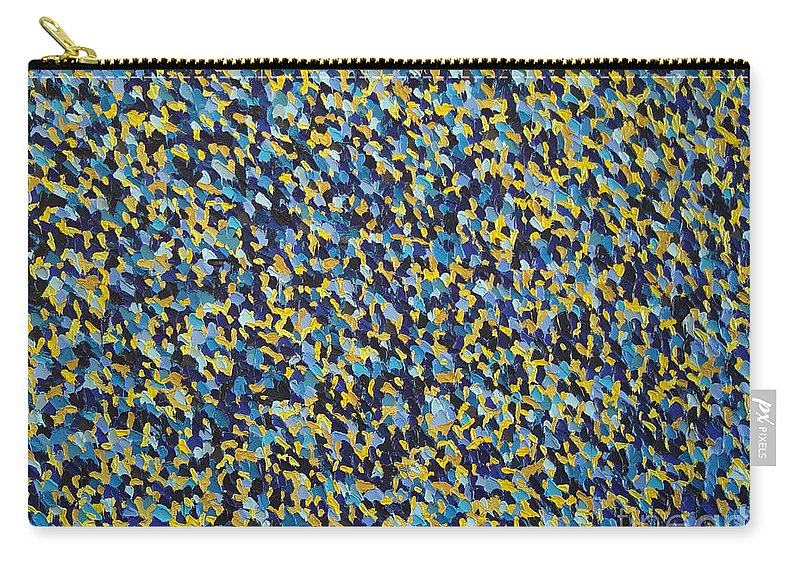 Abstract Carry-all Pouch featuring the painting Soft Blue With Yellow by Dean Triolo