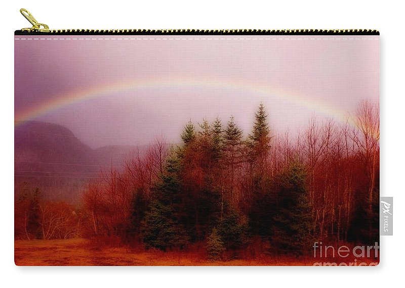 Rainbows Carry-all Pouch featuring the painting Soft Cape Breton Rainbow by John Malone