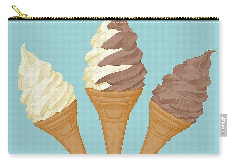 Vanilla Carry-all Pouch featuring the digital art Soft Ice Cream Cone by Saemilee