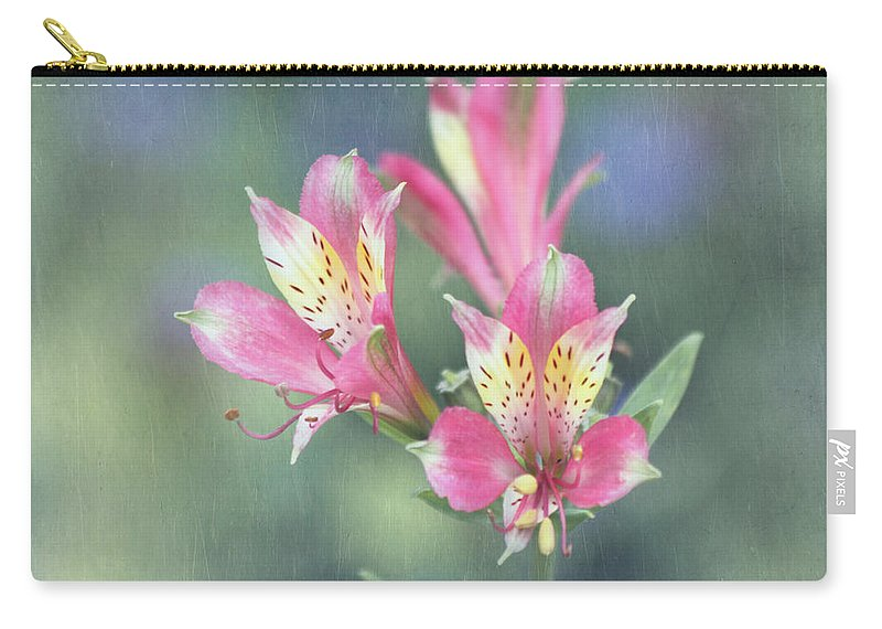 Alstroemeria Carry-all Pouch featuring the photograph Soft Pink Alstroemeria Flower by Kim Hojnacki