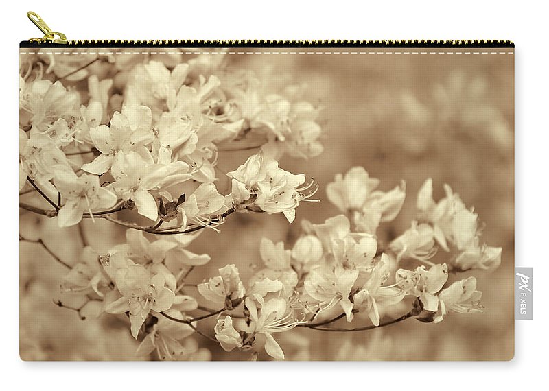 Azalea Carry-all Pouch featuring the photograph Soft Sepia Dancing Azalea Flowers by Jennie Marie Schell