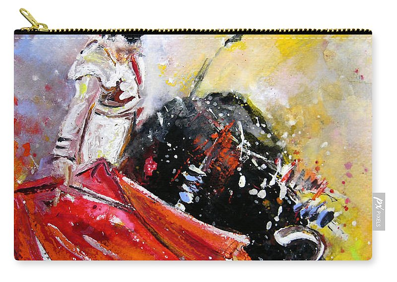 Bullfight Carry-all Pouch featuring the painting Softly And Gently by Miki De Goodaboom