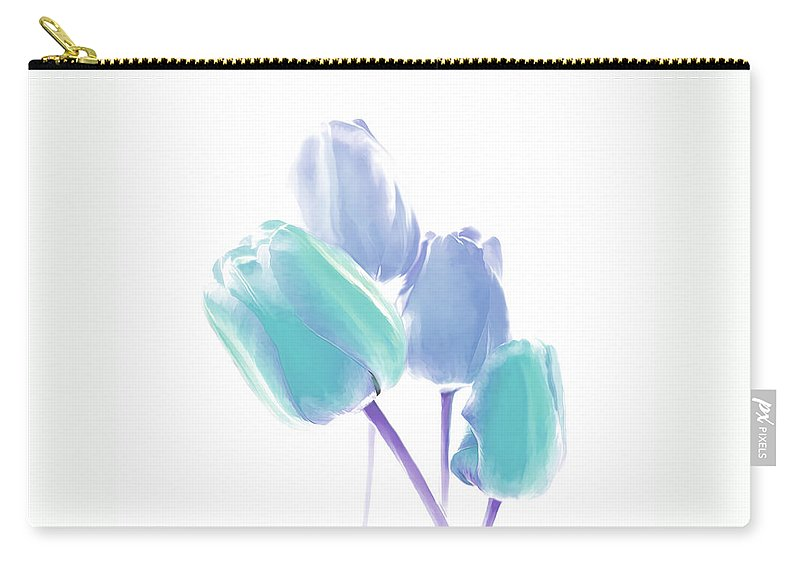 Tulip Carry-all Pouch featuring the photograph Softness Of Blue And Teal Tulip Flowers by Jennie Marie Schell