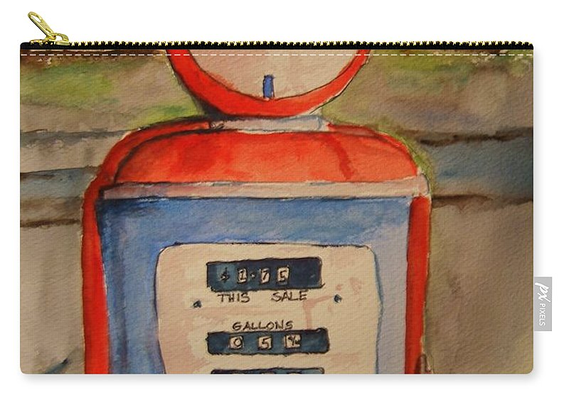 Sohio Carry-all Pouch featuring the painting Sohio Gasoline Pump by Elaine Duras