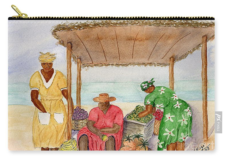 Market Carry-all Pouch featuring the painting Sokoni - Market Kenya by Mohamed Hirji