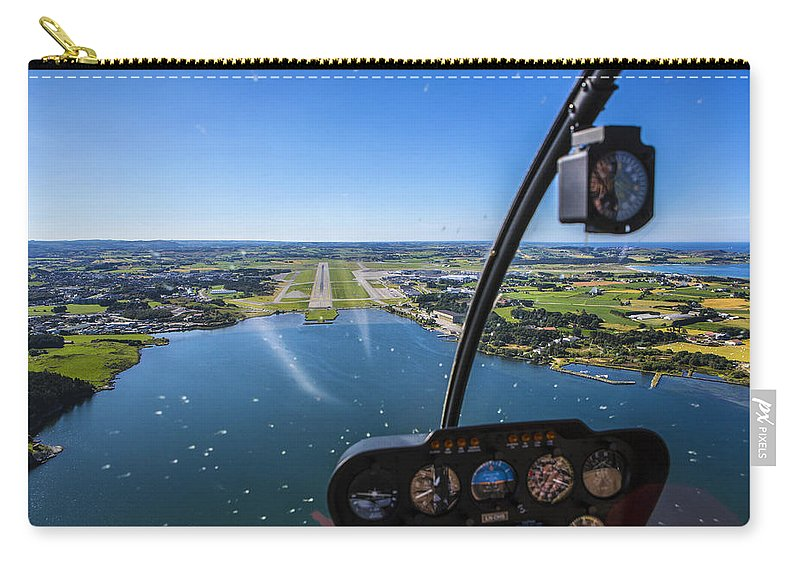 Water's Edge Carry-all Pouch featuring the photograph Sola And Sola Airport, Aerial Shot by Sindre Ellingsen