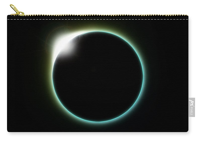 Diamond Carry-all Pouch featuring the digital art Solar Eclipse Moon by Antony McAulay