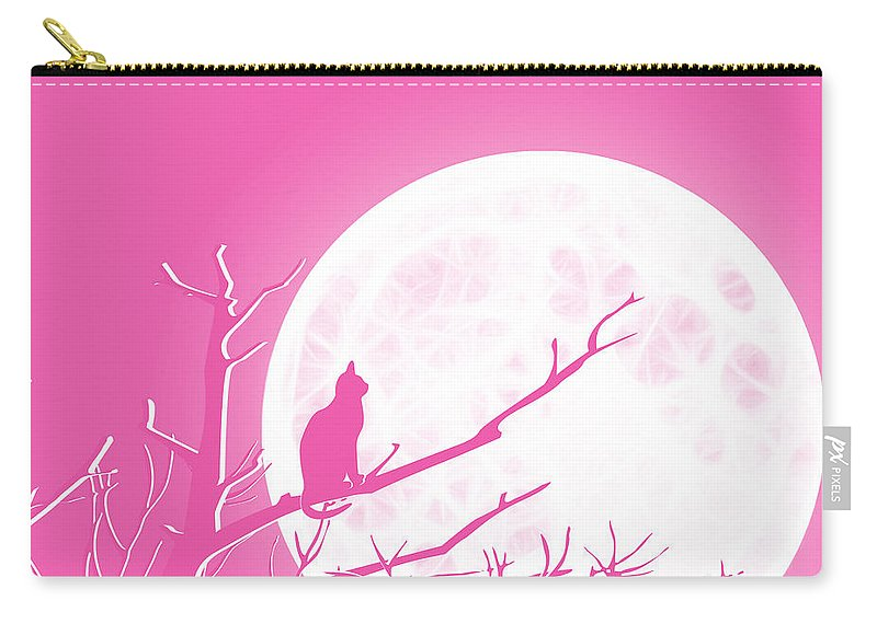 Solitary Pink Background Carry-all Pouch featuring the digital art Solitary Pink Background by Methune Hively