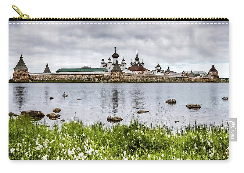Grass Carry-all Pouch featuring the photograph Solovetsky Monastery At Holy Lake by Mordolff