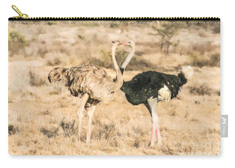 Kenya Carry-all Pouch featuring the digital art Somali Ostriches Kissing by Liz Leyden