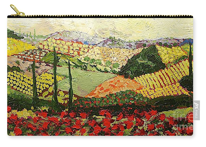 Landscape Carry-all Pouch featuring the painting Something Red by Allan P Friedlander