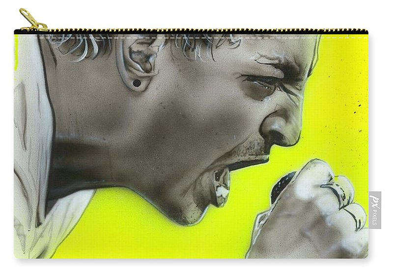 Chester Bennington Carry-all Pouch featuring the painting Somewhere I Belong by Christian Chapman Art