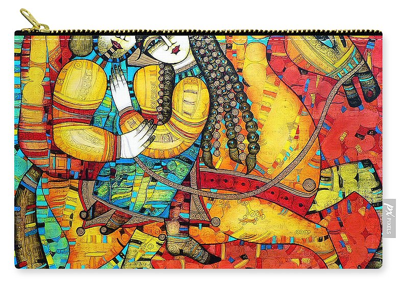 Albena Carry-all Pouch featuring the painting Sonata For Two And Unicorn by Albena Vatcheva