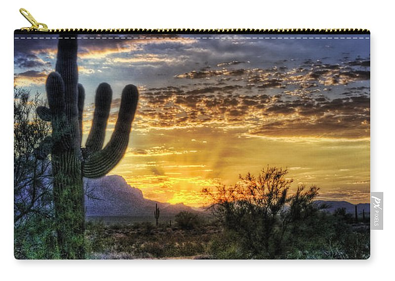 Sonoran Desert Carry-all Pouch featuring the photograph Sonoran Sunrise by Saija Lehtonen
