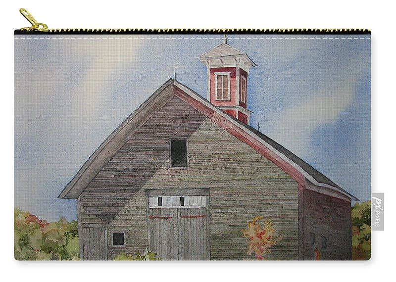 Farm Building Carry-all Pouch featuring the painting Soon To Be Forgotten by Mary Ellen Mueller Legault