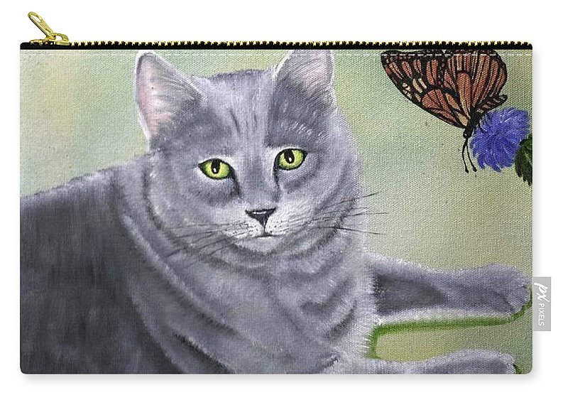 Cat Carry-all Pouch featuring the painting Soot by Debbie LaFrance
