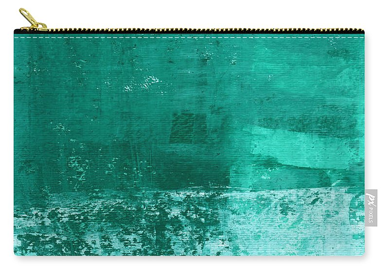 Abstract Art Carry-all Pouch featuring the painting Soothing Sea - Abstract painting by Linda Woods