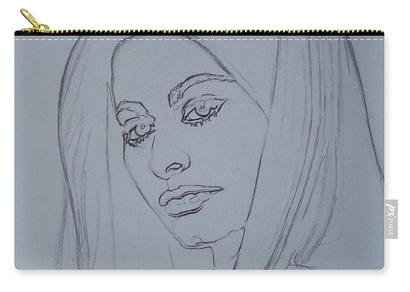 Woman Carry-all Pouch featuring the drawing Sophia Loren In Headdress by Sean Connolly