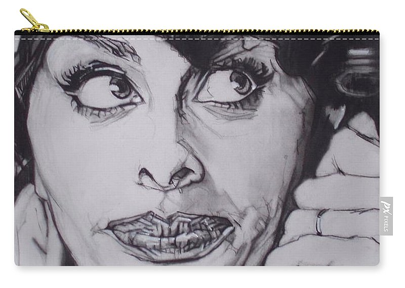 Charcoal;icon;actress;diva;italian;cat Eyes;beautiful;cute;adorable Carry-all Pouch featuring the drawing Sophia Loren Telephones by Sean Connolly
