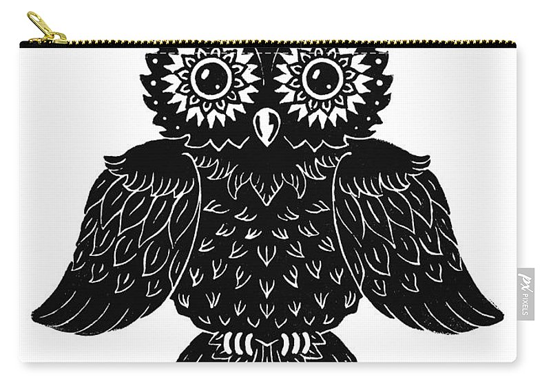 Owl Carry-all Pouch featuring the painting Sophisticated Owls 1 Of 4 by Kyle Wood