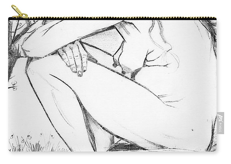 Trauma Carry-all Pouch featuring the drawing Sorrow After Vincent Van Gogh by Taiche Acrylic Art