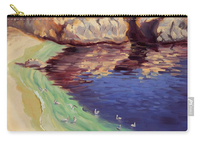 Point Lobos Carry-all Pouch featuring the painting Soulful Sanctuary Point Lobos by Karin Leonard