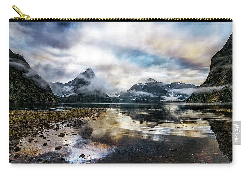 Scenics Carry-all Pouch featuring the photograph Sound Asleep | Fiordland, New Zealand by Copyright Lorenzo Montezemolo