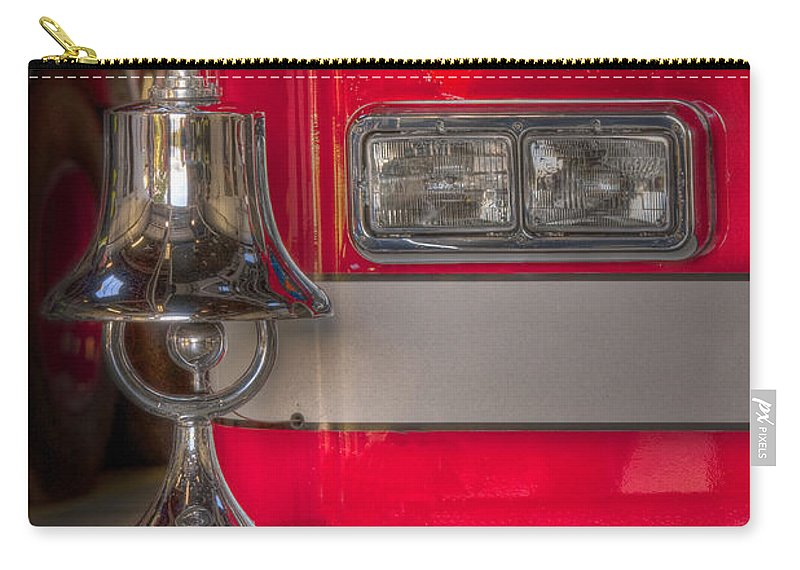 Fire Truck; Red; Lights; Bumper; Bell; Eagle; Metal; Vehicle; Engine; Fire Engine; Detail; Close Up; Bright; Reflection; Reflect; Transportation;step; Front; Corner; Metallic Carry-all Pouch featuring the photograph Sound The Alarm by Margie Hurwich