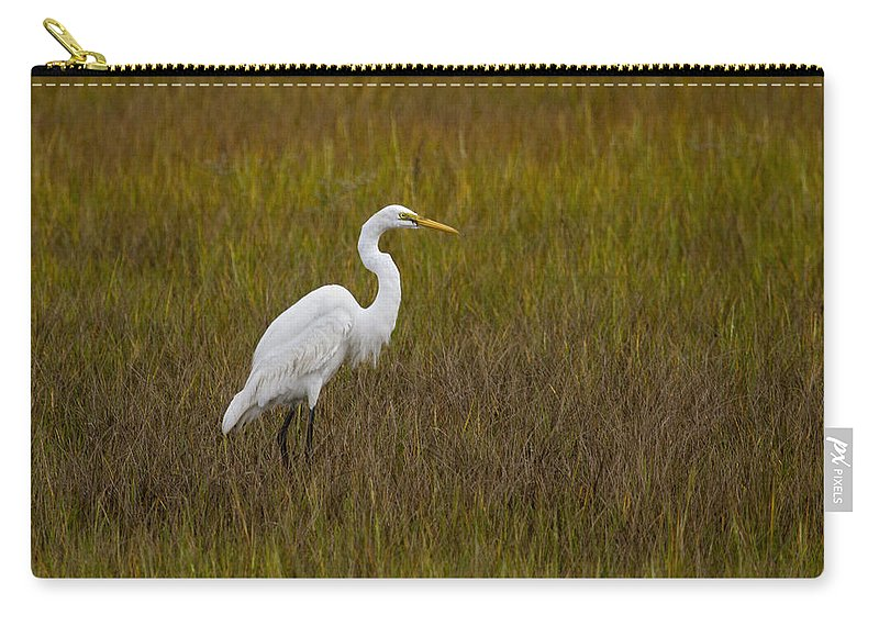White Carry-all Pouch featuring the photograph Soundside Park Topsail Island Egret by Betsy Knapp