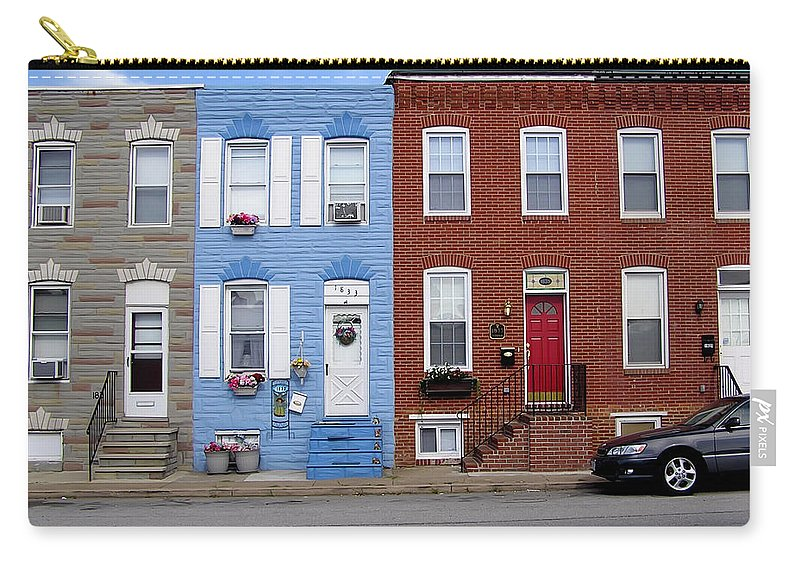 2d Carry-all Pouch featuring the photograph South Baltimore Row Homes by Brian Wallace