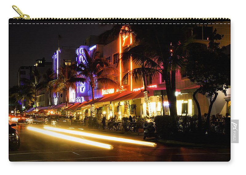 Miami Carry-all Pouch featuring the photograph South Beach After Dark by Fran Gallogly