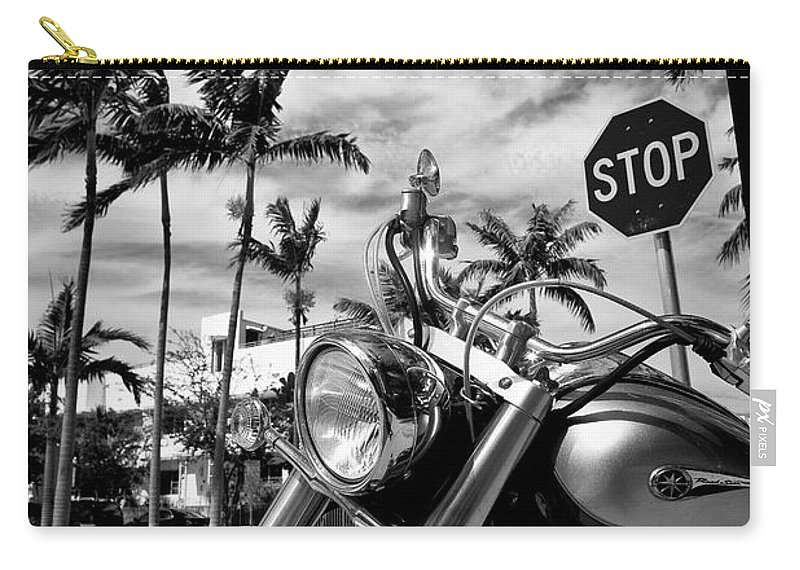 Bike Carry-all Pouch featuring the photograph South Beach Cruiser by Dave Bowman