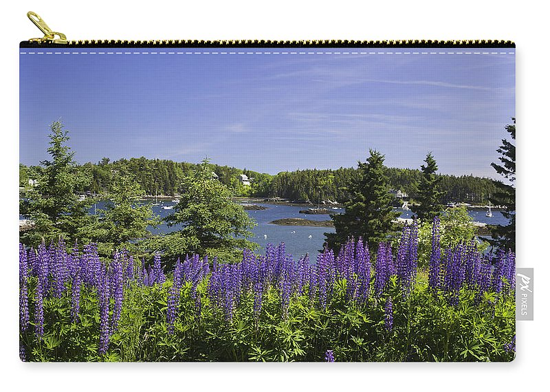 Maine Carry-all Pouch featuring the photograph South Bristol And Lupine Flowers On The Coast Of Maine by Keith Webber Jr