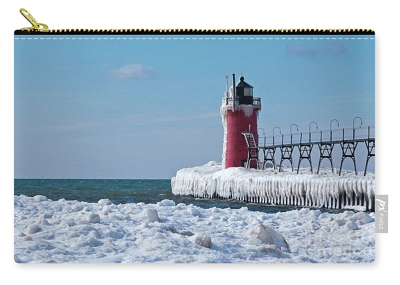 Lighthouse Carry-all Pouch featuring the photograph South Haven Ice by Ann Horn