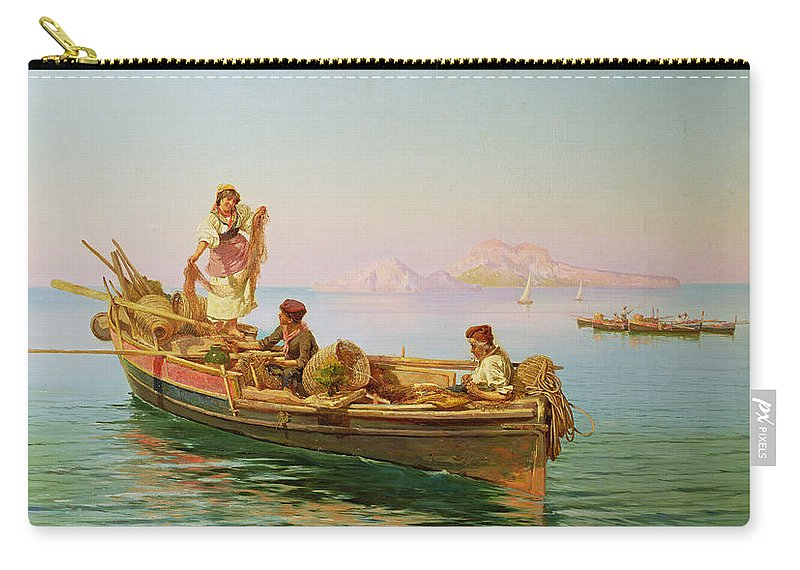Nets Carry-all Pouch featuring the painting South Italian Fishing Scene by Pietro Barucci