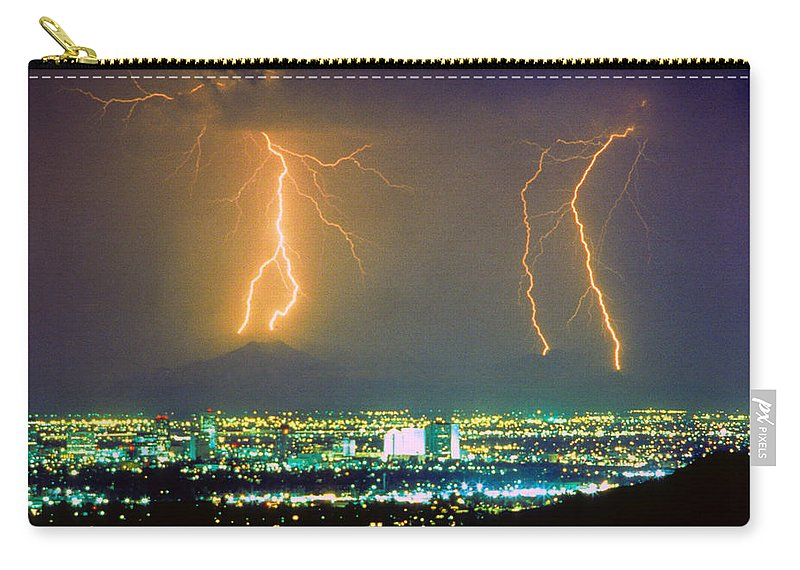 Lightning Carry-all Pouch featuring the photograph South Mountain Lightning Strike Phoenix Az by James BO Insogna