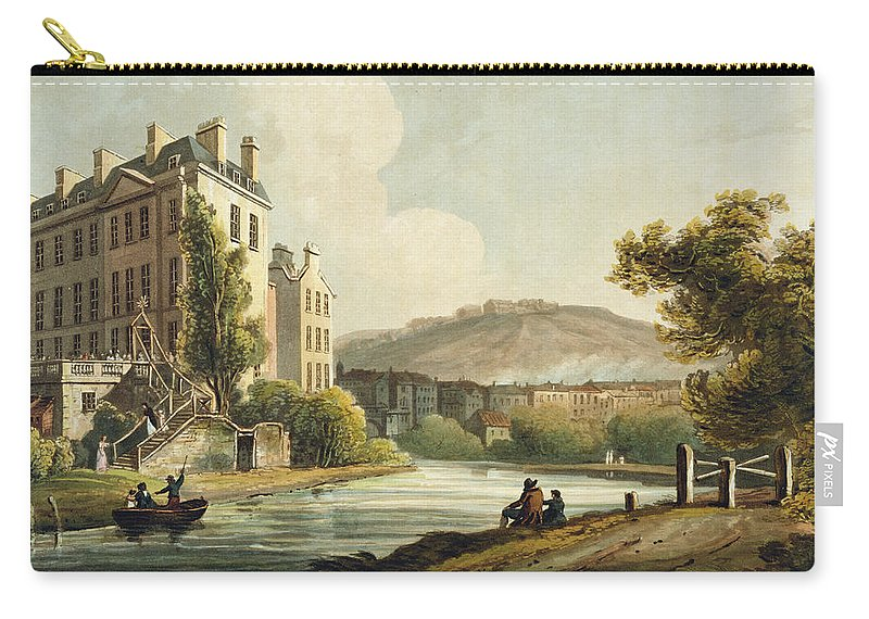 Bath Carry-all Pouch featuring the drawing South Parade From Bath Illustrated by John Claude Nattes